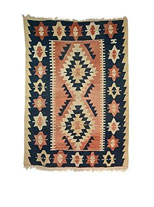 Wool Southwester Style Rug, Indigo/Terra Cotta/Stone