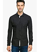 Black Printed Regular Fit Casual Shirt Status Quo