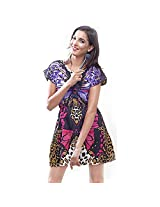 La Divyyu Black Crepe Printed Dress for Women(Small)