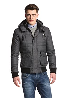 American Stitch Men's Hooded Quilted Jacket (Grey)