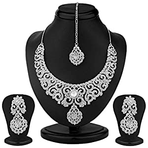 Sukkhi Ravishing Rhodium Plated Australian Diamond Necklace Set