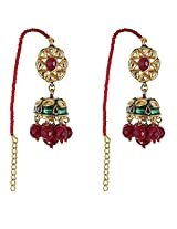 Be You Brilliant White Colour Kundan Meena Work Rhodium Plated Brass Jhumki Earring for Women