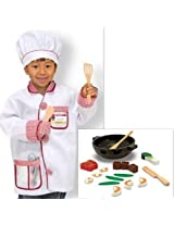 Melissa & Doug Chef Outfit Dress Up Costume And Stir Fry Play Food Set (Set Of 2 Items)