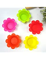 6 PCS Flower Shape Silicone Muffin Cup Cupcake Mold