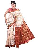 Mimosa Women Kanchipuram Art Silk Saree with Blouse (3022-105-Hlfwhite-Marun,  Off-White)