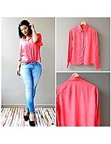 Madhurima Bhattacharjee Coral Pink Shirt-US size 8