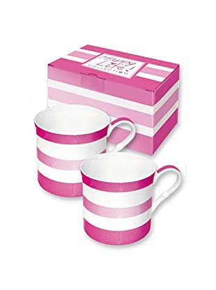 Easy Life Design Set 2 Mug in Porcellana Bone China Happy Stripes (Rosa)