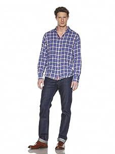 Shirt By Shirt Men's Button-Front Shirt (Black/Purple)