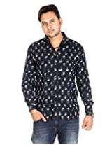 Rajasthani Cotton Designer Floral Black Casual Shirt By Rajrang