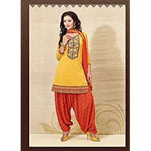 Unstitched Yellow Cotton Top With Santoon Bottom & Chiffon Dupatta Embroidery With Print Work Punjabi Patiala Salwar Suit