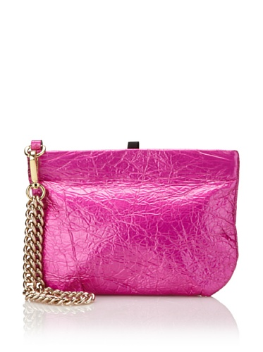 Meredith Wendell Women's Metallic Medium Shaver Pouch with Chain (Hot Pink)