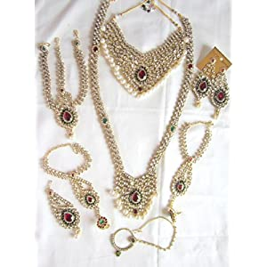BRIDAL DULHAN WEDDING NECKLACE SET MAROON GREEN WHITE PEARL KUNDAN GOLD PLATED