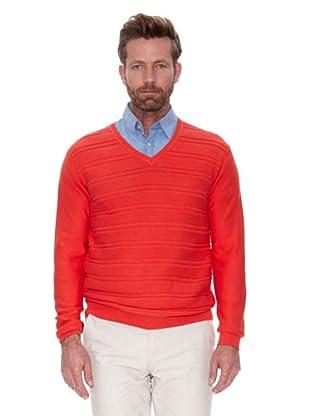 Cortefiel Jersey Cuello Pico Listado (Rojo)