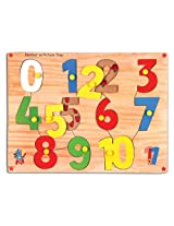 Skillofun Number On Picture Tray 0-10 with Knobs, Multi Color
