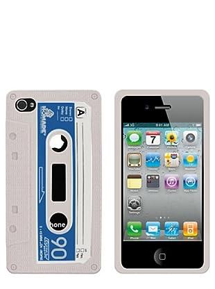 Blautel iPhone 4/4S Funda Silicolor Retro Cassete Blanco