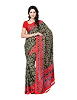 Ambaji Black & Red Coloured Renial Printed Saree