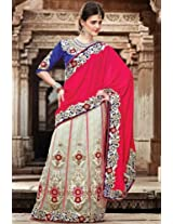 Rose Red and Off-white Velvet and Net Lehenga Style Saree