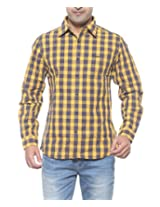 Wrangler Men Cotton MUSTARD Casual Shirt (Large)