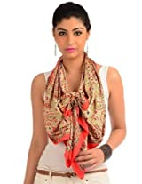 Cherry red printed readymade stole