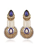 Traditional Gold Plated Elegantly Handcrafted Pearl Hanging Earrings