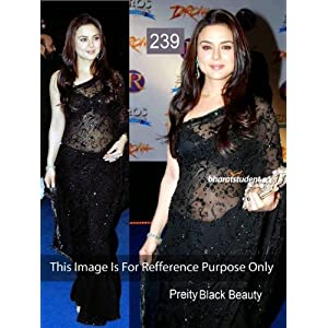 Prity zinta in black saree Women Clothings sarees Bollywood Collaction 239