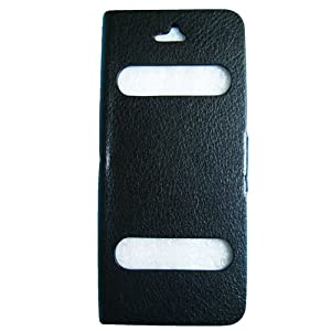 Premium Leather Caller ID Magnetic Flip Case Cover W/ Screen Protector for Apple iPhone 5 - Black