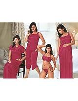 Indiatrendzs Women's Sexy Hot Nighty Hot Red 6pc Set Eveningwear Freesize