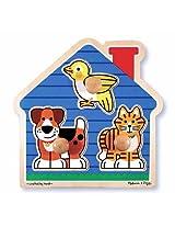 2 Item Bundle: Melissa & Doug 2055 House Pets Wooden Jumbo Knob Puzzle + Free Gift