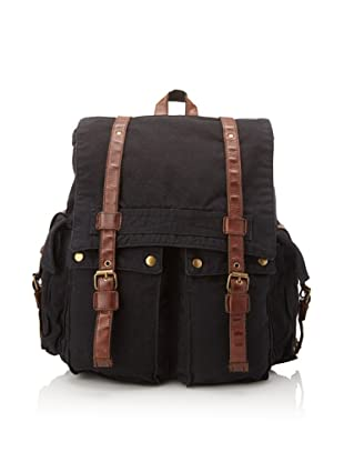 J. Campbell Los Angeles Men's Washed Canvas Backpack (Black)