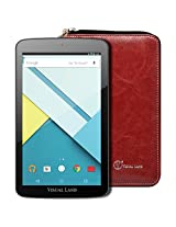 """Visual Land Prestige ELITE 7QS - 7"""" QuadCore 16GB Android Tablet with Wallet Case, Lollipop 5.0 OS, Wifi, 1024x600 HD, Google Play (Red)"""