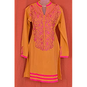 Indian Treasures Boutique Embroidered Kurti - Yellow