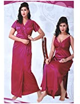 Indiatrendzs Women's Bridal Nighty Drak Pink Sexy Dress 2pc Honey Moon Night Wear