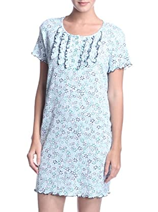 Aegean Apparel Women's Floral Gauze Nightgown (Blue Print)
