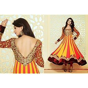 Designer Yellow & Pink Colour Bamberg Anarkali Salwar Kameez