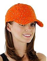 Glitzy Game Flower Sequin Trim Baseball Cap for Ladies (Orange)