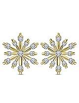 Vorra Fashion Elegant Women 14k Gold Plated 925 Pure Silver Flower Ear Stud Earrings Jewelry