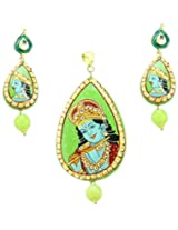 Supershine Artistically Crafted Pendant set with Beautiful Krishna Painting 66368