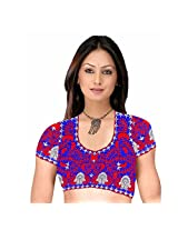Fabfirki Blue and Red Embroidered Dupian Blouse