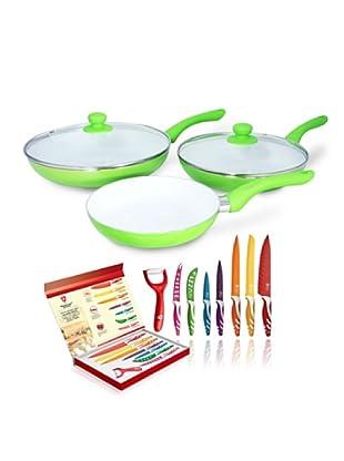 Royalty Line Set 7 Cuchillos + Set 3 Ceramic Pan Con Tapa Verde