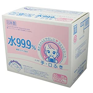 【ケース販売】 水99.9% ウェットシート 手・口ふき 80枚入り×15パック