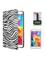 VG Zebra Print Mary Portfolio Multi Purpose Book Style Slim Flip Cover Case for Samsung Galaxy Tab4 T330/T331 8.0 (White) + 2600 mAh PowerBank + Matte Screen