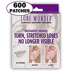 600 Invisible Earring Ear-Lobe Support Patches - Provides Relief for Damaged Streched Ear-Lobes and Helps Protect Healthy Ear Lobes Against Tearing