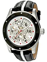 Akribos XXIV Men's AK476BK Premier Skeleton Automatic Retro Leather Strap Watch