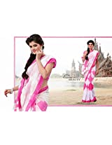 Classy Off White & Pale Pink Cotton Silk Embroidered Saree