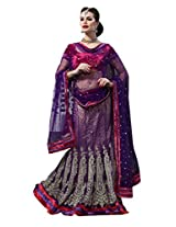 Anvi Creations Bridal Embroidered Net Lehenga Choli (Purple _Free Size)