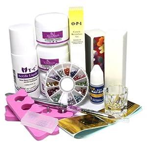 Nail Art Tips Kit DIY Acrylic Liquid Powder Tools Glue Oil Pen Buffer Rhinestones Decorations #1224