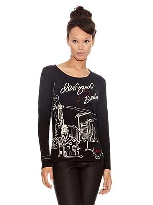 Desigual Camiseta Bcn (Negro Estampado)