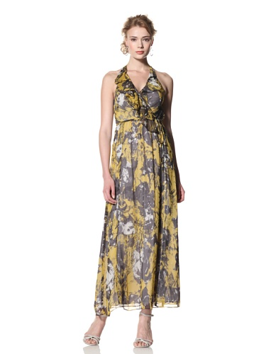 Andrew Marc Collection Women's Surplice Ruffle Front Maxi Dress (Marigold)