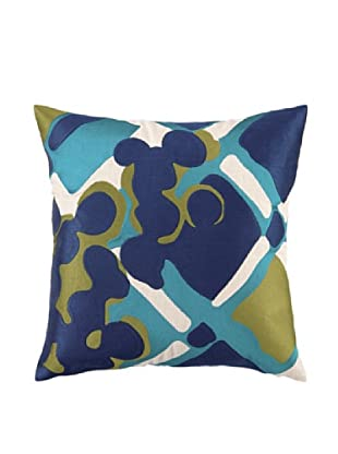 Trina Turk Painterly Plaid Embroidery Linen Pillow (Blue)