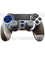 Sony PS4 Controller High Quality Protective Silicone Case Grey White with 2 Grey Silicone Thumb Grips